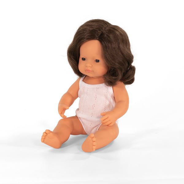 MINILAND GIRL 38CMS BABY DOLL - BROWN HAIR