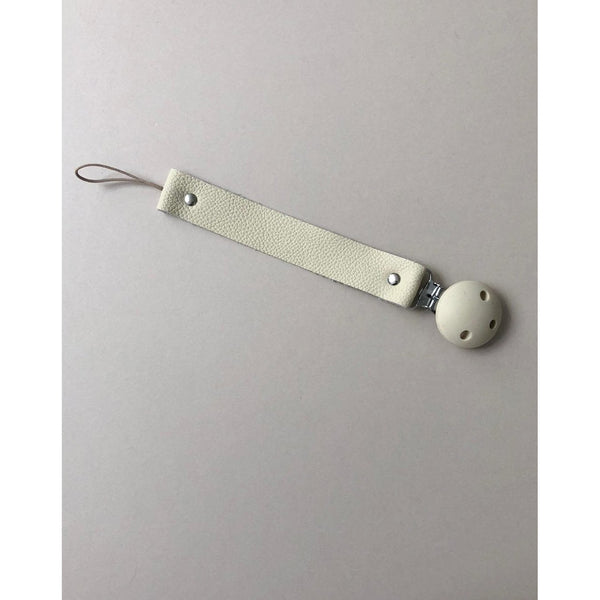 Bezisa Cream Leather Pacifier Clip