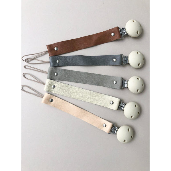 Bezisa Grey Leather Pacifier Clip