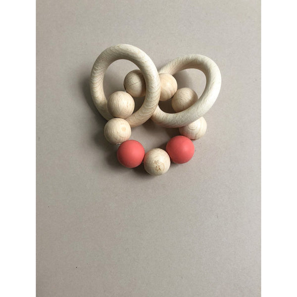 BEZISA BASICS PINK NATURAL RATTLE