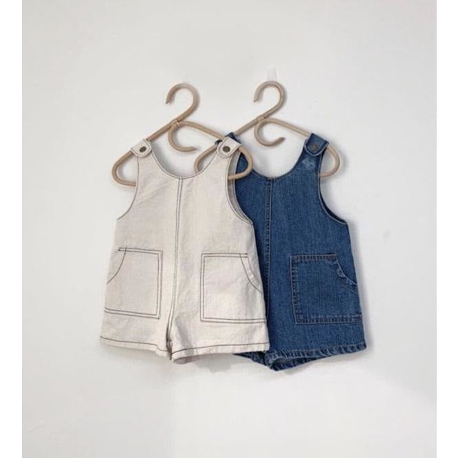 MONBEBE CREAM DENIM SHORT DUNGAREES