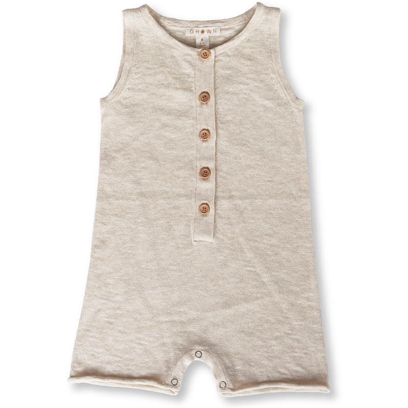 Grown Oat Slub Linen Knit Romper