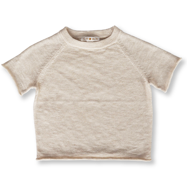 Grown Oat Slub Linen Knit Raglan Tee