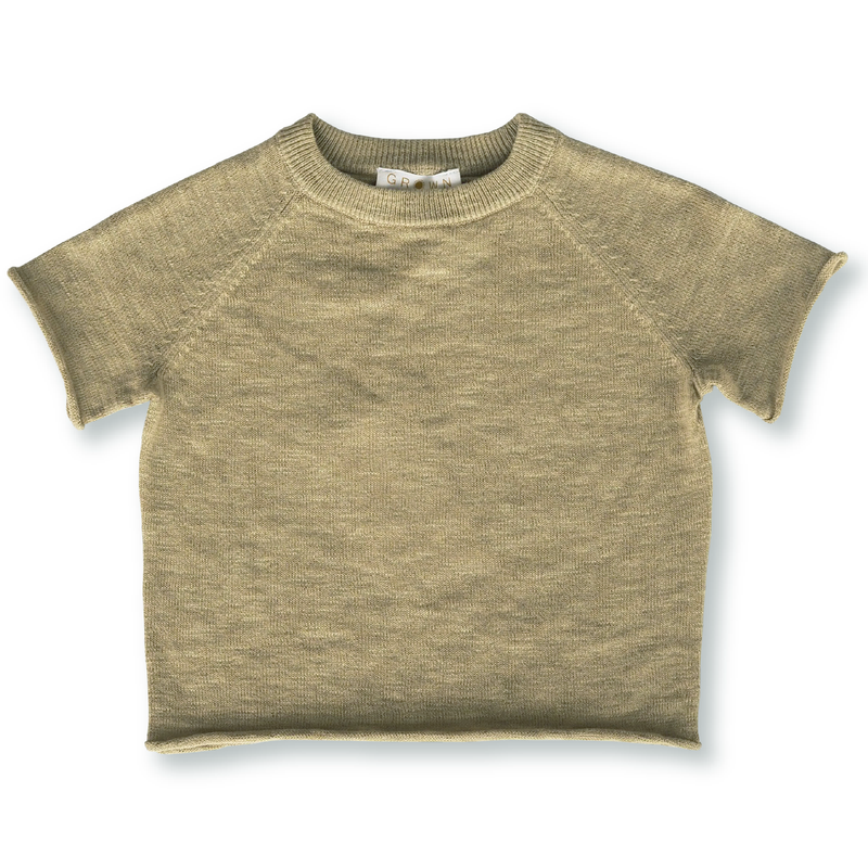 Grown Olive Slub Linen Knit Raglan Tee