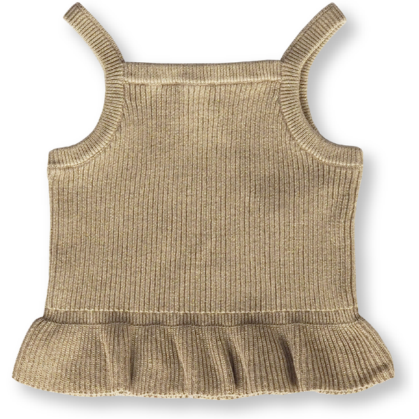 GROWN GOLDIE RIBBED FRILL TOP