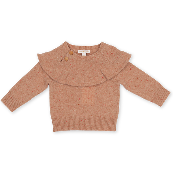 Grown Coral Speckled Frill Merino Wool Jumper