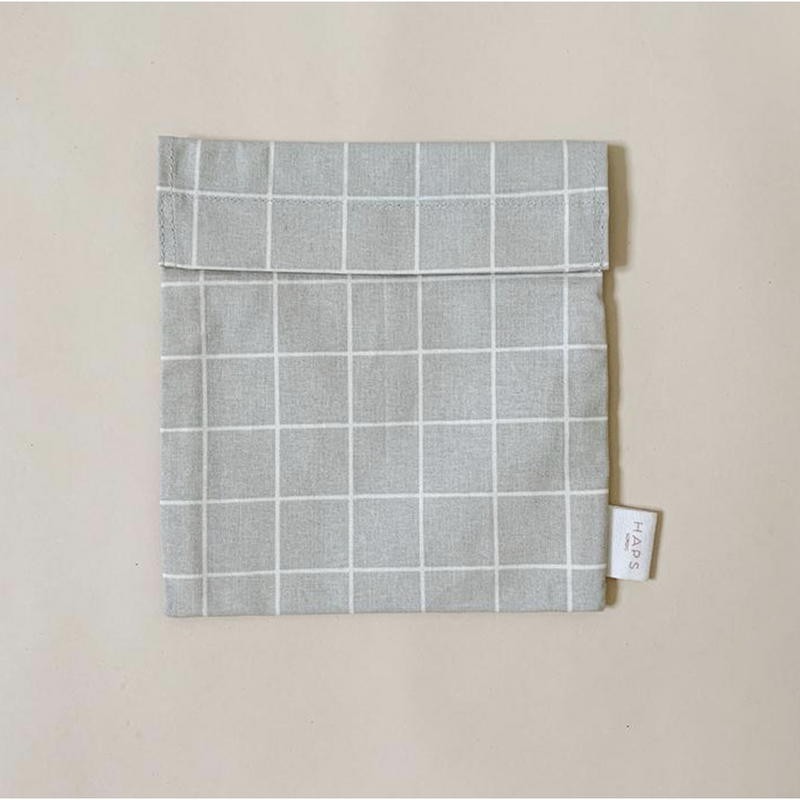 HAPS NORDIC ORGANIC OYSTER GREY CHECK SANDWICH BAG