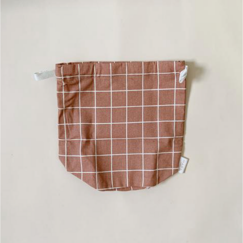 HAPS NORDIC ORGANIC SMALL TERRACOTTA CHECK MULTI BAG