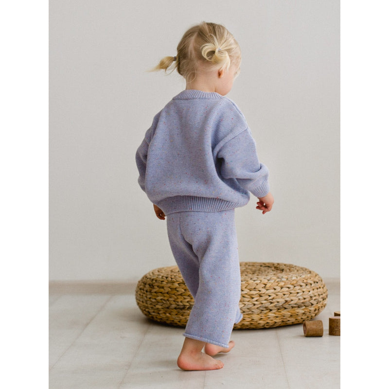 KIDS OF APRIL LAVENDER RAINBOW SPECKLE CARDIGAN (PRE ORDER)