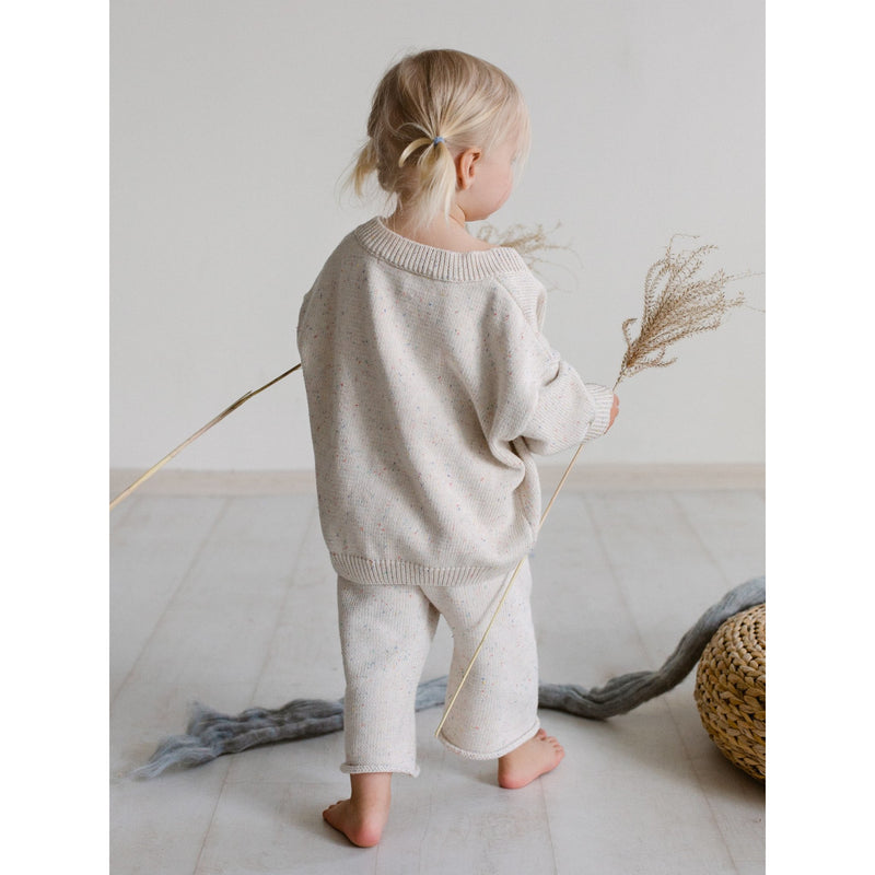 KIDS OF APRIL NATURAL RAINBOW SPECKLE CARDIGAN (PRE ORDER)