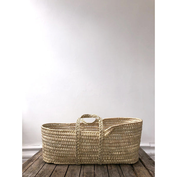 NATURAL PALM MOSES BASKET - SECONDS