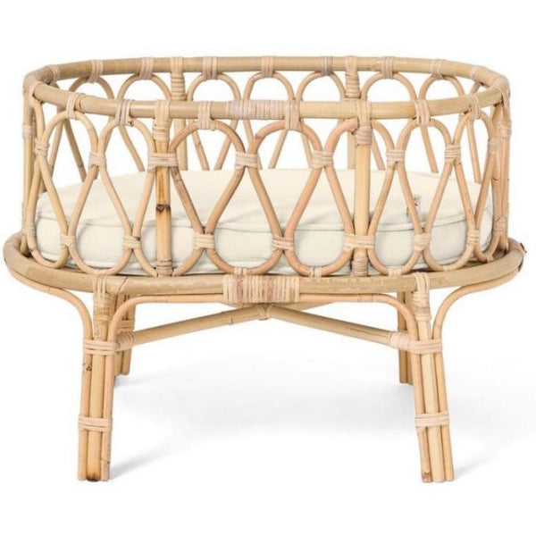 POPPIE TOYS RATTAN OFF WHITE DOLLS CRIB