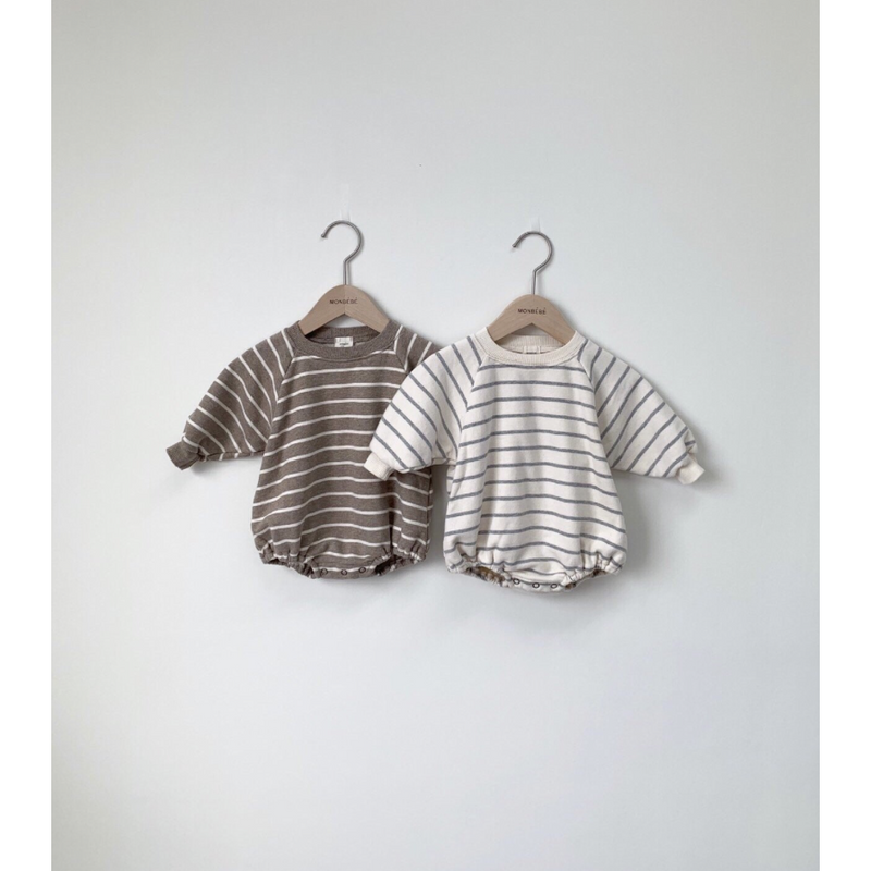 MONBEBE BASIC STRIPE CREAM ROMPER