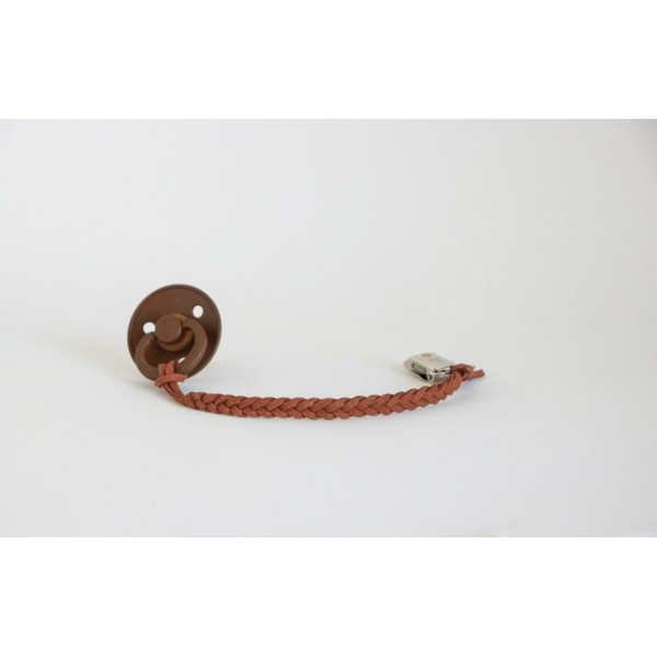 OH DUBIDU BROWN VEGAN LEATHER PACIFIER CLIP