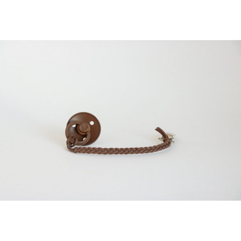 OH DUBIDU CHOCOLATE VEGAN LEATHER PACIFIER CLIP