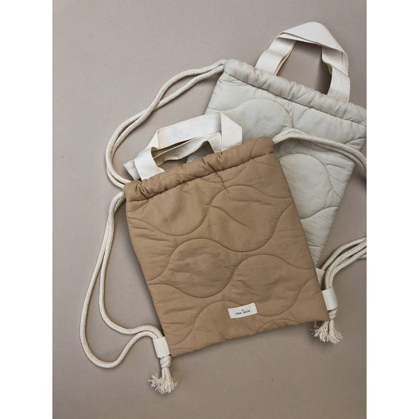 The Lala Padded Ivory Drawstring Bag