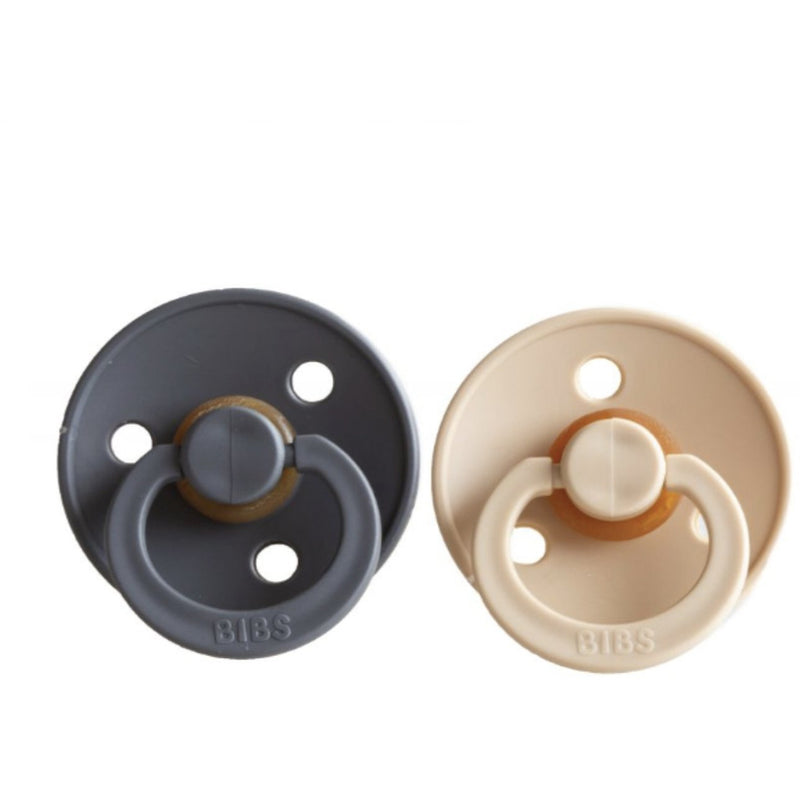BIBS IRON + BEIGE NATURAL RUBBER PACIFIERS