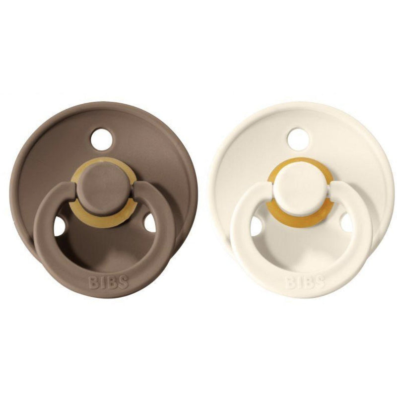 BIBS DARK OAK + VANILLA NATURAL RUBBER PACIFIERS