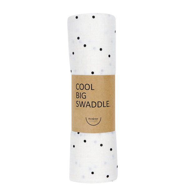 BONJOUR LITTLE COOL BIG CREAM DOTS SWADDLE
