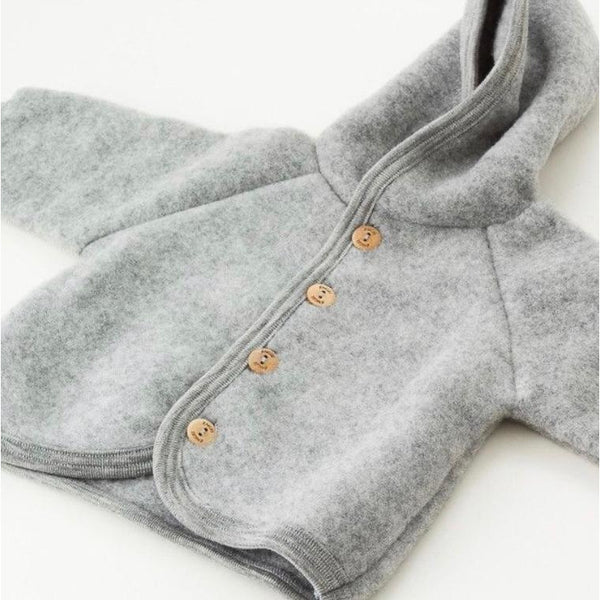 ENGEL NATUR GREY MELANGE WOOL HOODED JACKET