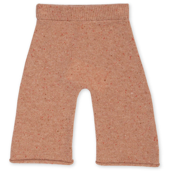 GROWN CORAL SPECKLED MERINO KNITTED PANTS