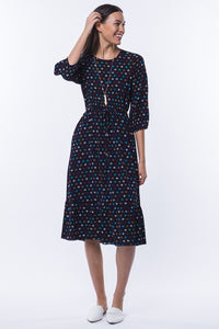 Bailey Floral Midi Dress - Navy