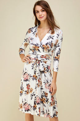 Doris Floral Wrap Dress - Ivory