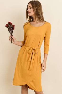 Adaline Waist Tie Dress - Mustard