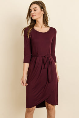 Adaline Waist Tie Dress - Burgundy
