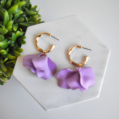 Hannah Floral Earrings - Lavender