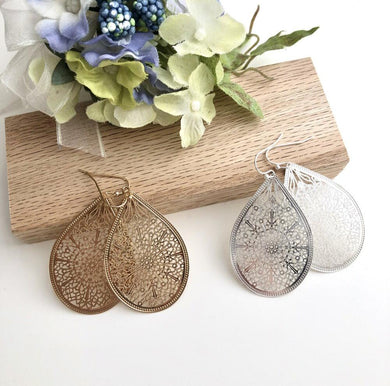 Faye Tear Drop Filigree Metal Earrings
