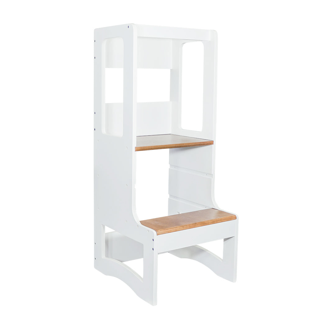 Evo Adjustable Learning Tower | White & Walnut