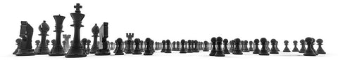 Chess pieces black and white logo