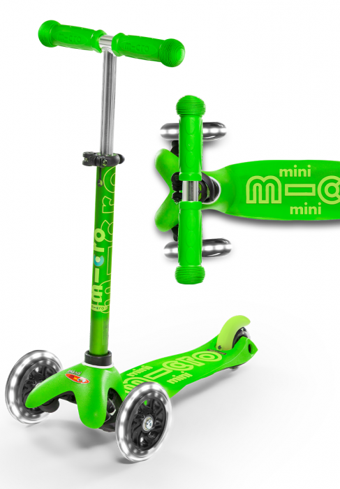 Micro Mini Deluxe LED Green Scooter