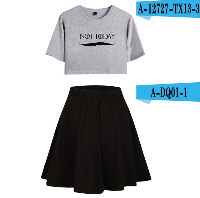 2pc Women NOT TODAY Skirt Set