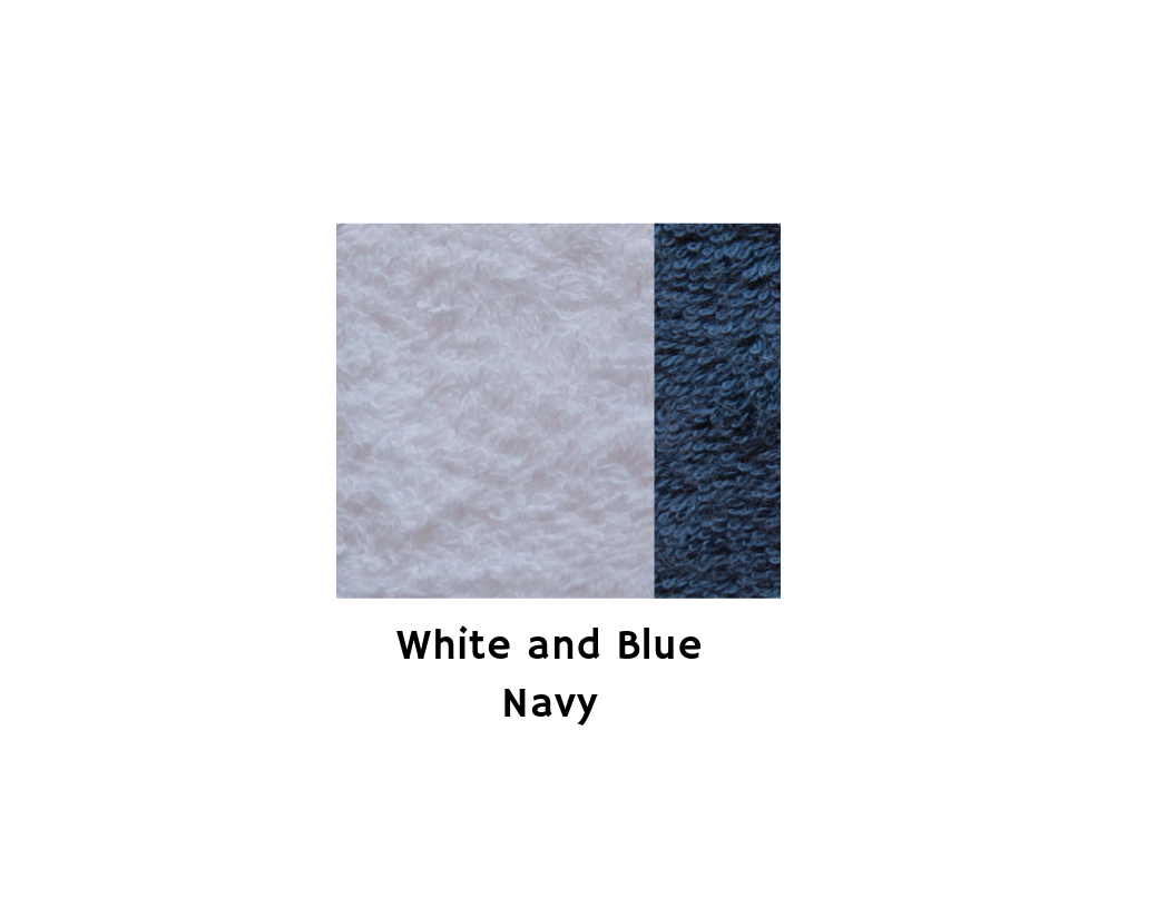 Cotton Bath Towel Medium size - White&Blue Navy