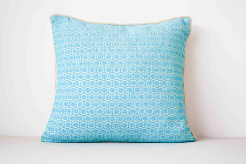 Light blue cotton and rayon Cushion Cover with geometric pattern