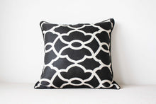 Load image into Gallery viewer, Black and white cotton and rayon Cushion Covers Set