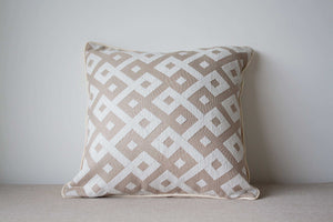 Beige and white cotton and rayon Cushion Cover with geometric pattern