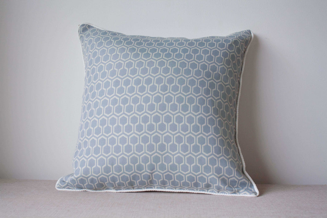 Powder Blue cotton and rayon Cushion Cover with geometric pattern