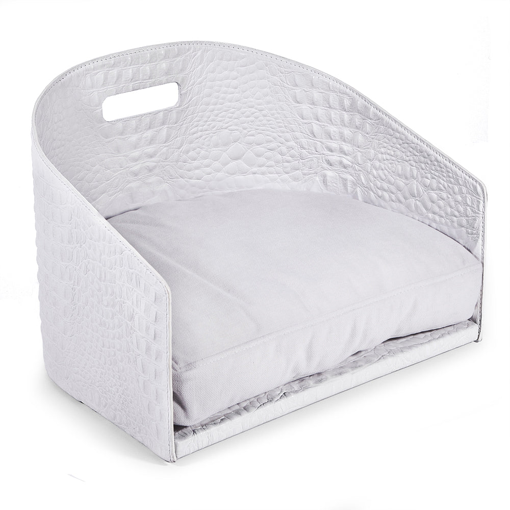 Printed Crocodile Leather Dog Bed Cocò - White / Printed Crocodile Leather / S - White / Printed Crocodile Leather / M