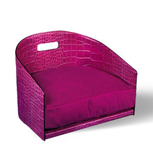 Load image into Gallery viewer, Printed Crocodile Leather Dog Bed Cocò - Fuchsia / Printed Crocodile Leather / M - Fuchsia / Printed Crocodile Leather / S