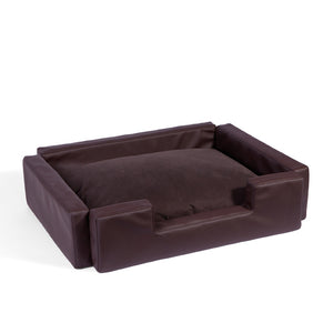 Squared brown dog bed in eco leather