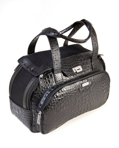 Dog carrier bag in black coloured leather