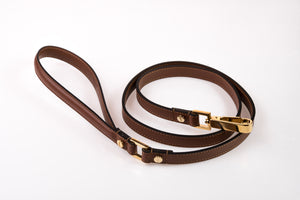 Dog Leash in Soft Leather - Brown