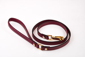 Dog Leash in Soft Leather - Wine