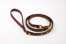 Load image into Gallery viewer, Dog Leash Stud Star in Soft Leather - Brown