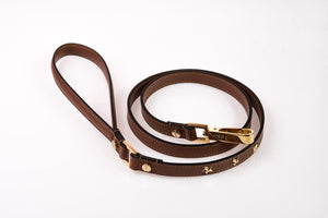 Dog Leash Stud Star in Soft Leather - Brown