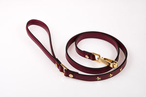 Dog Leash Stud Star in Soft Leather - Wine