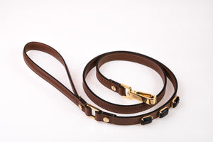 Dog Leash Jewel in Soft Leather - Brown